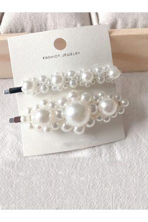 Jewels Galaxy Women White Set of 2 Hair Accessory Set