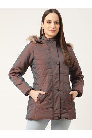 Duke Women Brown & Blue Dual-Toned Parka Jacket with Detachable Hood