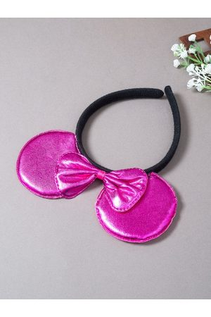 Golden Peacock Women Hair Accessories - Women Pink & Black Micky Mouse Ears Bow Hairband