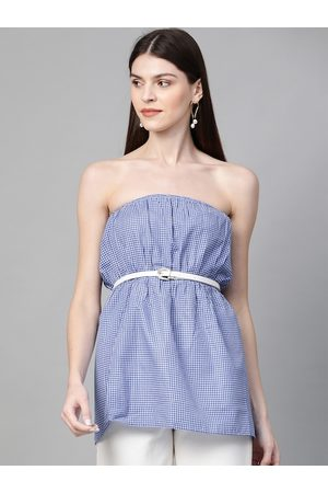 Orchid Blues Women Blue & White Checked Strapless Top