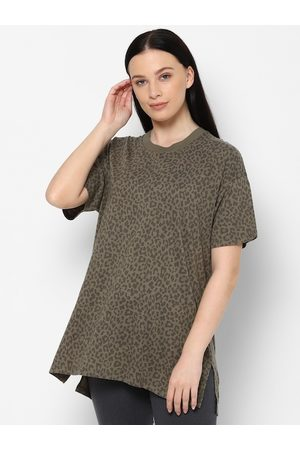 AMERICAN EAGLE OUTFITTERS Women Green Printed Polo Collar Drop-Shoulder Sleeves Pockets T-shirt