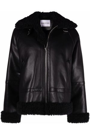 Stand Studio Faux-leather shearling jacket
