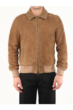 SALVATORE SANTORO Men Leather Jackets - Suede and shearling jacket