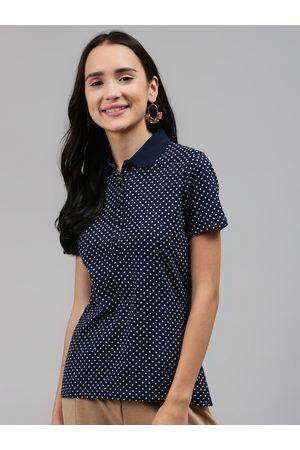 Marks & Spencer Women Navy Blue & White Polka Dots Printed Polo Collar T-shirt
