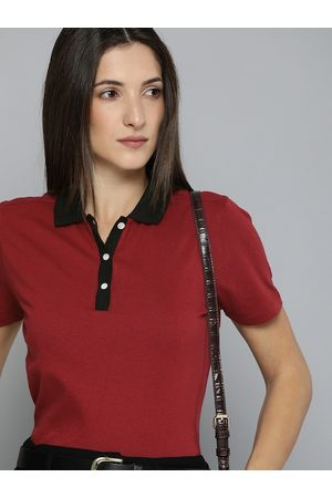 Chemistry Women Red Polo Collar T-shirt