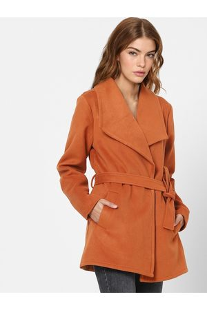 ONLY Women Orange Solid Trench Coat