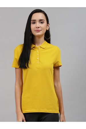 Marks & Spencer Women Yellow Pure Cotton Polo Collar T-shirt