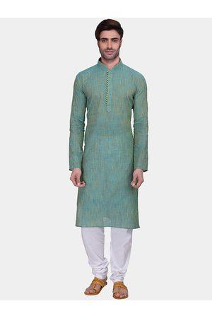 RG DESIGNERS Men Turquoise Blue & White Regular Kurta with Churidar