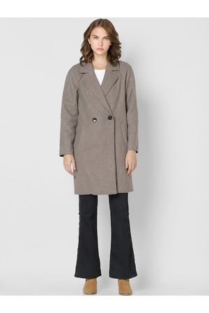 ONLY Women Brown Solid Longline Trench Coat