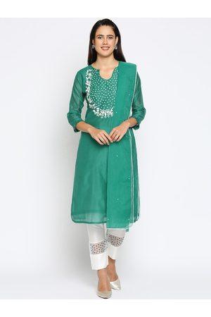 INDYES Women Green Floral Embroidered Regular Thread Work Chanderi Silk Kurta with Salwar & With Dupatta