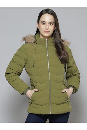 Fort Collins Women Olive Green Solid Parka Detachable Hood Jacket
