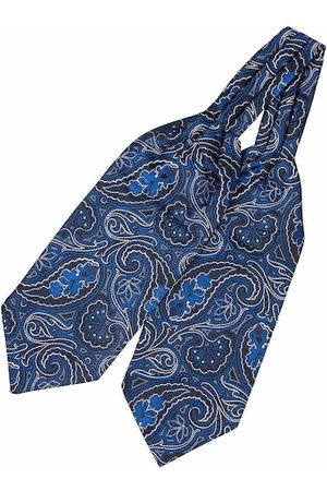 The Tie Hub Men Cravats - Men Blue & White Woven Design Cravat