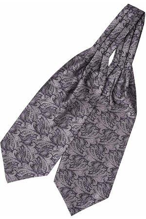 The Tie Hub Men Grey & Black Woven Design Cravat