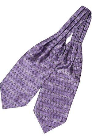 The Tie Hub Men Purple & Grey Woven Design Cravat