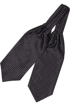 The Tie Hub Men Black & White Woven Design Cravat