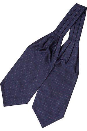The Tie Hub Men Navy Blue Woven Design Cravat