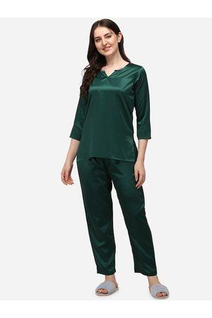 Smarty Pants Women Suit sets - Women Green Solid Satin Night suit Set