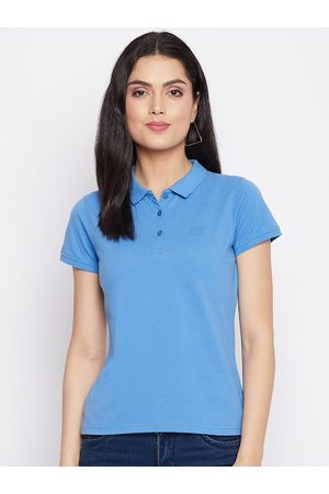 HARBORNBAY Women Polo Shirts - Women Blue Polo Collar T-shirt