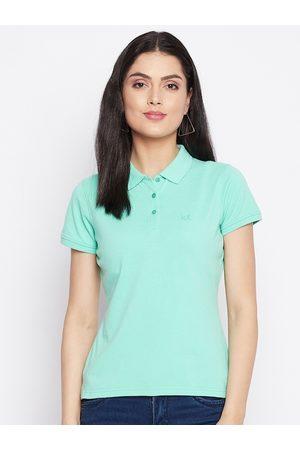 HARBORNBAY Women Green Polo Collar Pockets T-shirt