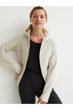 H&M Women Beige Solid Padded Hooded Outdoor Jacket