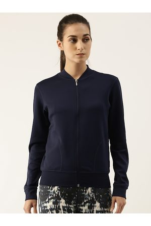 ENAMORA Women Navy Blue Lightweight Antimicrobial Outdoor Bomber Jacket