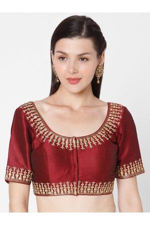 SALWAR STUDIO Women Maroon & Gold Embroidered Silk Readymade Saree Blouse