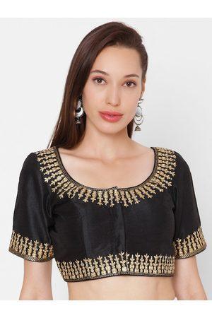 SALWAR STUDIO Women Black & Gold-Coloured Embroidered Padded Phentom Silk Readymade Saree Blouse