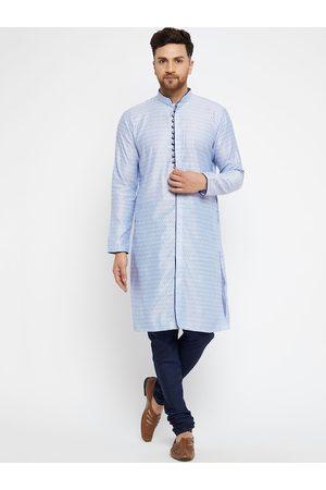 Vastramay Men Blue Ethnic Motifs Printed Regular Kurta with Pyjamas