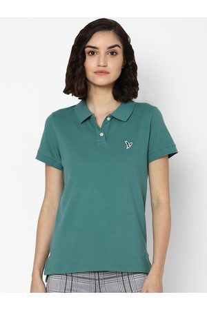 AMERICAN EAGLE OUTFITTERS Women Polo Shirts - Women Green Polo Collar T-shirt