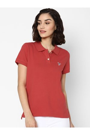 AMERICAN EAGLE OUTFITTERS Women Red Polo Collar T-shirt