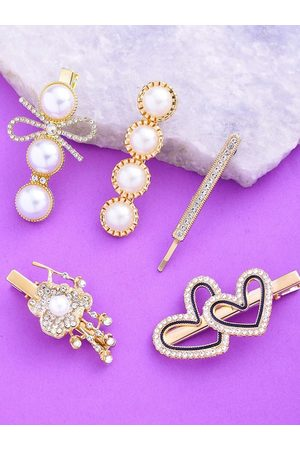 Yellow Chimes Jewellery Women White & Gold-Toned Set of 5 Embellished Alligator Hair Clips