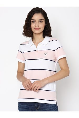 AMERICAN EAGLE OUTFITTERS Women Pink Striped Polo Collar Applique T-shirt