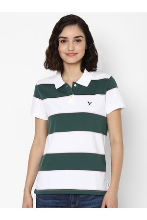 AMERICAN EAGLE OUTFITTERS Women Green Striped Polo Collar Applique T-shirt