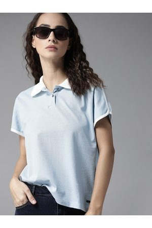 Roadster Women Blue Solid Cotton Polo Collar T-shirt