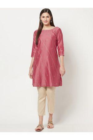 Fab India Women Pink Embroidered Regular Kurta with Salwar