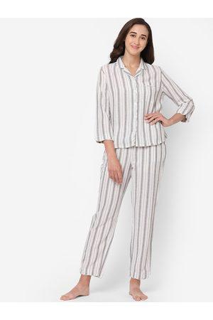 Le Mystere Women White Striped Night Suit Set
