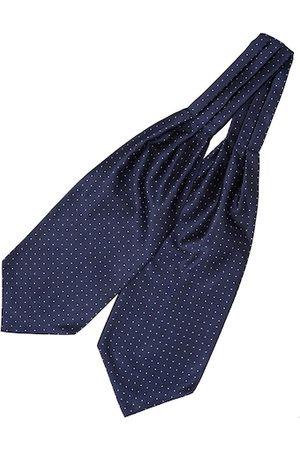 The Tie Hub Men Navy Blue Woven Design Printed Cravat Tie