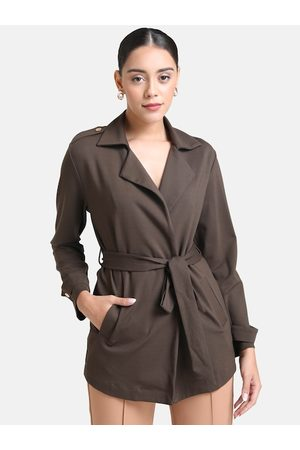 Kazo Women Olive Green Solid Trench Coat