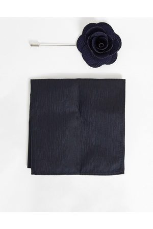 French Connection Dotted pocket square and lapel pin set in