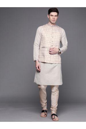 MANU Men Grey Regular Kurta with Churidar & Nehru Jacket
