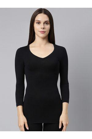 ENAMORA Women Vests - Women Black Solid Acrylic Thermal Top