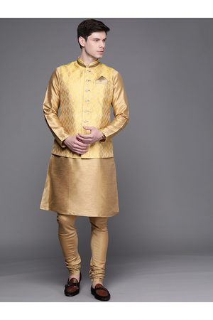 MANU Men Jackets - Men Golden Solid Regular Kurta with Churidar & Nehru Jacket