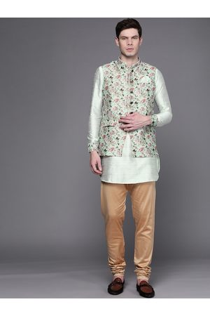 MANU Men Green & Beige Solid Regular Kurta with Churidar & Printed Waistcoat