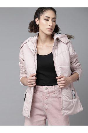 Roadster Women Parkas - Women Pink Solid Parka Detachable Hood Jacket