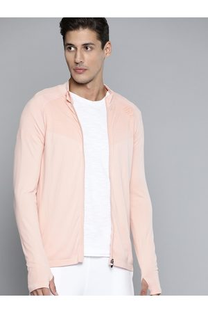 HRX Men Peach Whip Seamless Solid Yoga Jacket