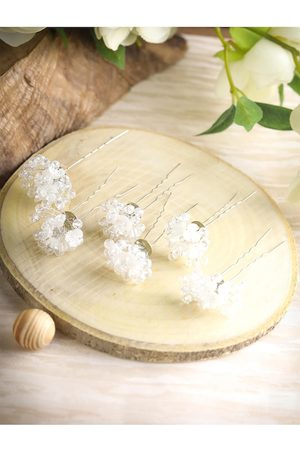 Priyaasi Women White Crystal Floral Silver Plated Bun Hair Accessory