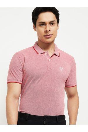 Max Collection Women Polo Shirts - Women Pink Polo Collar Pockets T-shirt