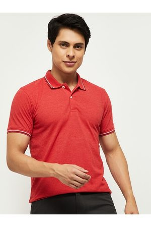 Max Collection Women Red Polo Collar Pockets T-shirt