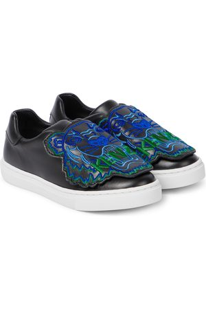 Kenzo Embroidered slip-on leather sneakers