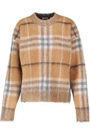 Burberry Women Jumpers - Checked mohair, silk and wool sweater